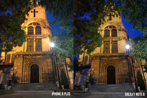 iPhone 8 Plus vs Galaxy Note 8 low-light camera comparison (cathedral)