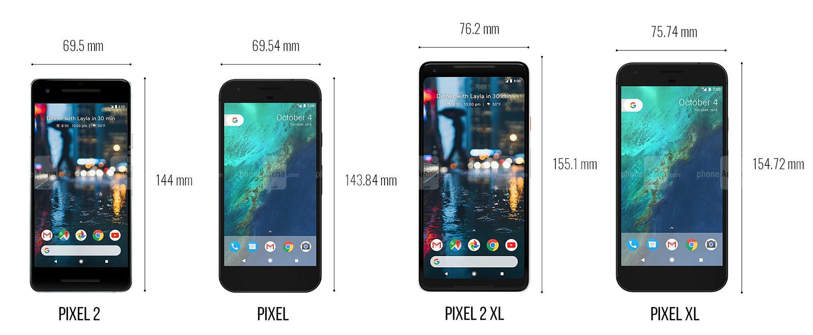 Iphone X Note 8 Pixel 2 Galaxy S8 Lg V30 Duvar: Google Pixel 2 And Pixel 2 XL Size Comparison