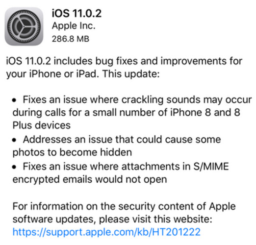 Apple clears up a few issues with the update to iOS 11.0.2 - No more Snap, Crackle or Pop for iPhone 8/8 Plus as Apple sends out iOS 11.0.2