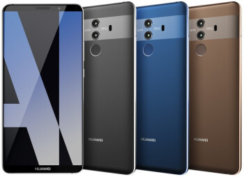 Huawei Mate 10 Pro in grey, blue, brown. There might be an additional color variant hiding in this picture...