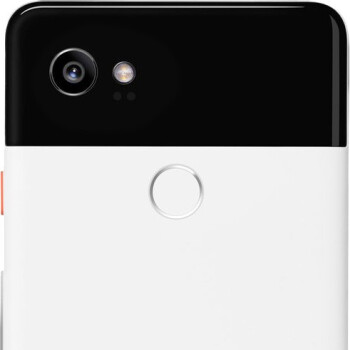 The Pixel 2 XL features a dual-tone design on the back and a colored power button