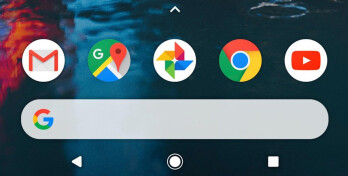 The dock now houses the Google search bar, whereas the top of the screen is occupied by a new reminders and weather widget. There's also no translucent background to the dock
