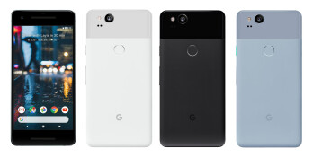 Google Pixel 2 in Clearly White, Just Black, and Kinda Blue