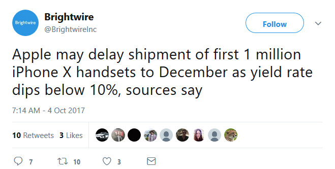 New report says that the Apple iPhone X could be delayed until December - Report says Apple iPhone X yield rate drops under 10%; release could be delayed until December