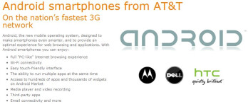 HTC joins AT&T's cast of Android partners listed on their web site
