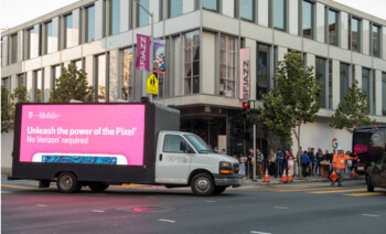 T-Mobile promotes its Pixel deal by driving a mobile billboard throughout the streets of San Francisco