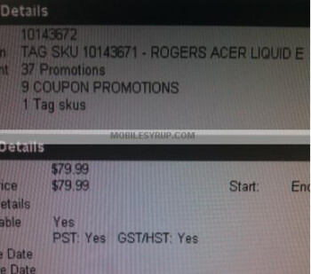 Rogers Acer Liquid e priced at $79.99 with a 3-year contract?