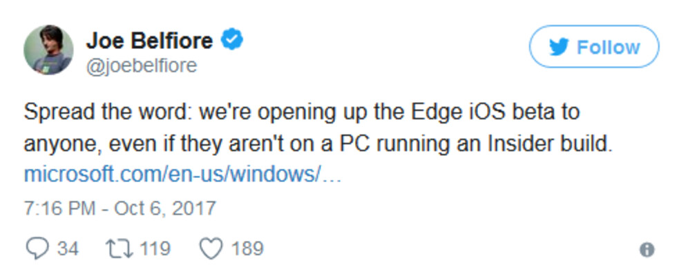 Tweet from Microsoft's Belfiore reveals wider distribution for the Edge for iOS Preview