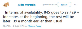 Translated tweet from Eldar Murtazin says that the Galaxy S9 will be arriving earlier next year