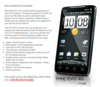 Best Buy jump starting the HTC EVO 4G with its usual pre-order process