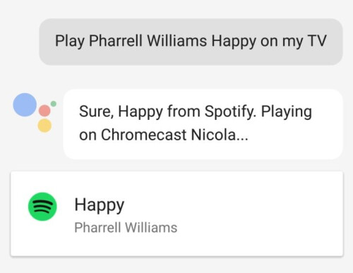 Make a request to your Chromecast from your Android or iOS flavored smartphone using Google Assistant...