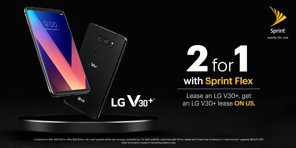 Get two LG V30+ phones for the price of one with Sprint's