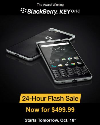 The BlackBerry KEYone can be purchased tomorrow only for $499.99