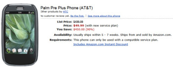 Amazon is selling AT&T's Palm Pre Plus for $49.99