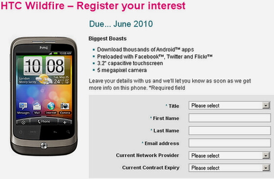 T-Mobile UK is getting the HTC Wildfire sooner than Virgin Mobile UK?