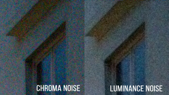 Left – excessive chroma noise in unedited RAW file; right – color noise reduced in Photoshop Express