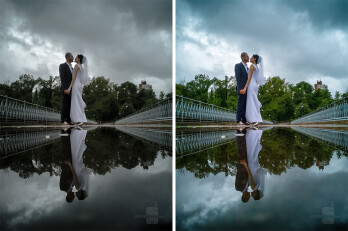 Every wedding photographer's dream – a dull, rainy day! It had just stopped raining and I took the chance to take this photo of the couple standing on the edge of a huge puddle. Drab colors? No problem! I edited that one the spot using Snapseed and sent it to the couple right away. Looking at it now, I'd definitely bring the saturation down a notch, but hey, it's still a nice showcase for this article