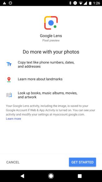 Google-Objektiv, das auf der ersten Generation von Pixel- und Pixel-XL-Geräten über die Foto-App