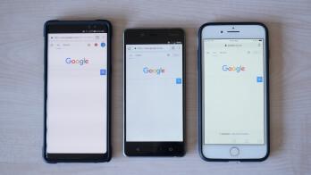 Note 8 left, Nokia 8 center, iPhone 8 Plus right