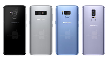 Possible variations of a dual-cam array and fingerprint scanner placement on the Samsung Galaxy S9/S9+