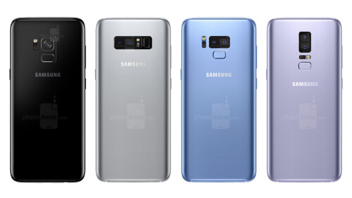 Galaxy S9 concept in different colors and camera/fingerprint scanner placement variations