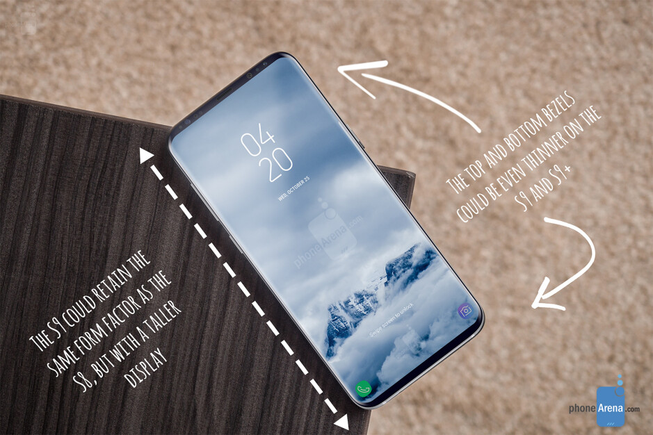 The Galaxy S9 and S9+ may retain the form factor of the S8 and S8+, but with taller displays and thinner bezels. This would also mean a taller aspect ratio, akin to that of the iPhone X. The other option would be to make the phones wider and retain the current 18.5 by 9 screen aspect ratio, while making the bezels thinner - Awesome Galaxy S9 renders offer an early glimpse at what Samsung's next flagships might look like
