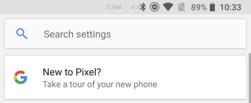 Search bar on top in settings