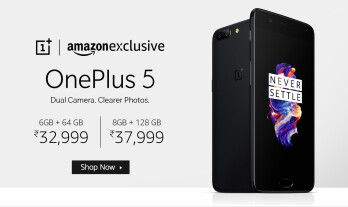 OnePlus 5 advert, as found on Amazon.in