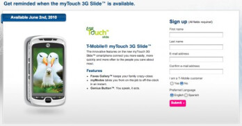 T-Mobile is opening up pre-orders for the myTouch 3G Slide at local stores