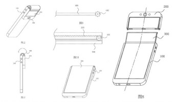 Images from Oppo's patent application show a phone with a top that folds backward