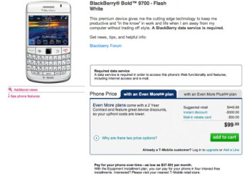 "T-Mobile's ""flash white"" BlackBerry Bold 9700 splashes down with a $99.99 price tag"