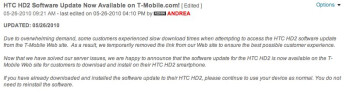 Update for T-Mobile's HTC HD2 is back online