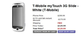 Walmart is lining up to sell the T-Mobile myTouch 3G Slide for $129.99