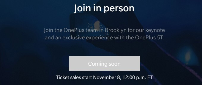 OnePlus to charge a $40 fan fee for its 5T event, but it's all for a good cause