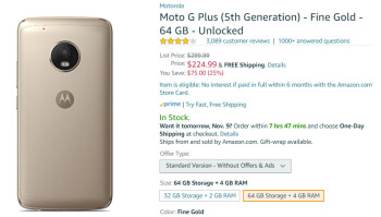Deal: Save $75 (25 ) when you buy the 64GB Moto G5 Plus at Amazon