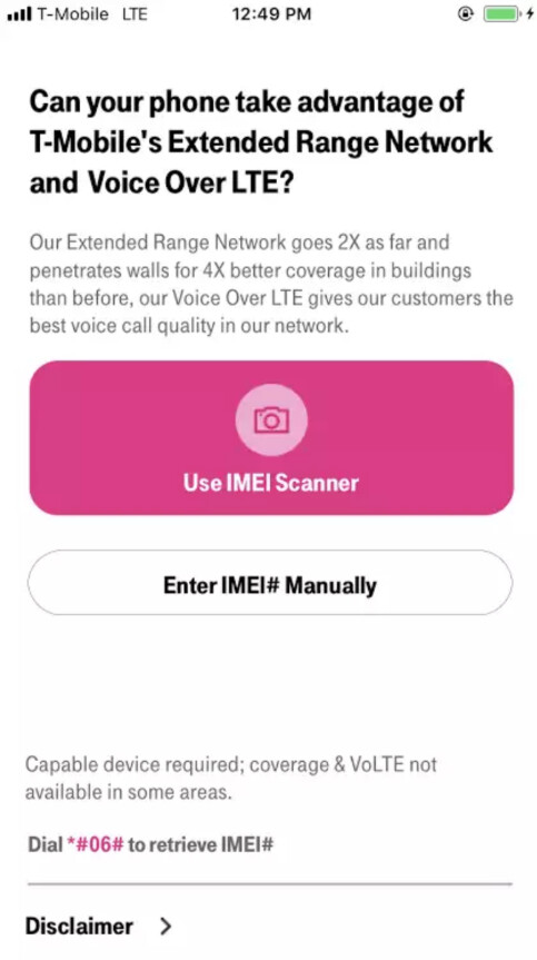 Check to see if your phone is compatible with T-Mobile's Extended Range LTE and its VoLTE feature by using this new app