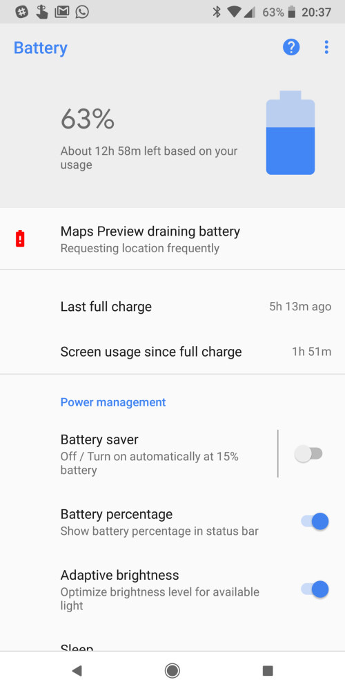 Android 8.1 battery drain detector