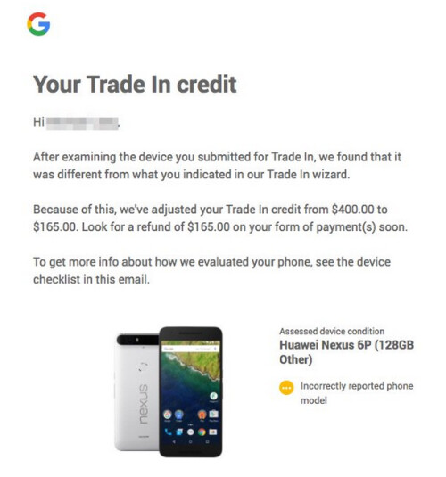 One person trading in a Pixel XL was told he sent in a Huawei 6P