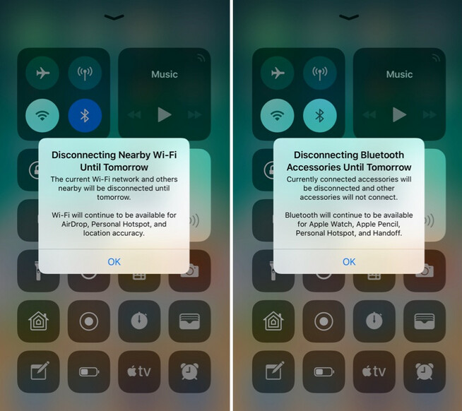 The first time you use the toggles for Wi-Fi and Bluetooth in the Control Center you will see this message