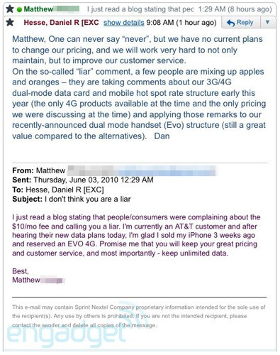 Dan Hesse responds by saying that Sprint has no current plans to change data pricing