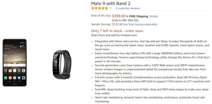 Deal: Huawei Mate 9 with Band 2 on sale at Amazon for just $400 ($160 off)