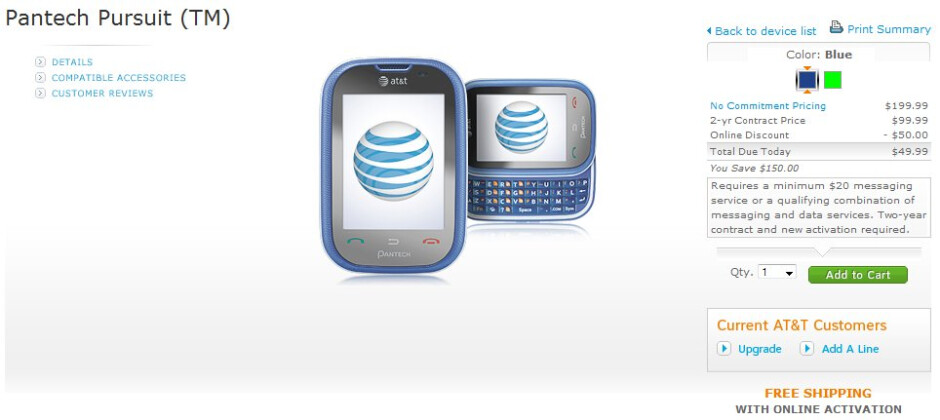 Pantech Pursuit is now available for $49.99 through AT&T