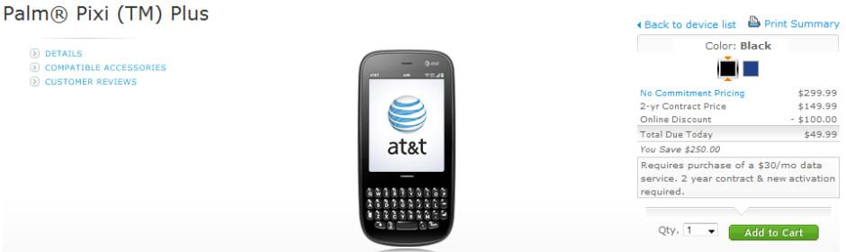 AT&T launches Palm Pixi Plus