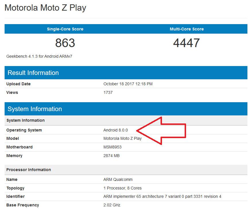 Moto Z Play foi visto executando o Android 8.0 (Oreo). Será que a atualização virá em breve?