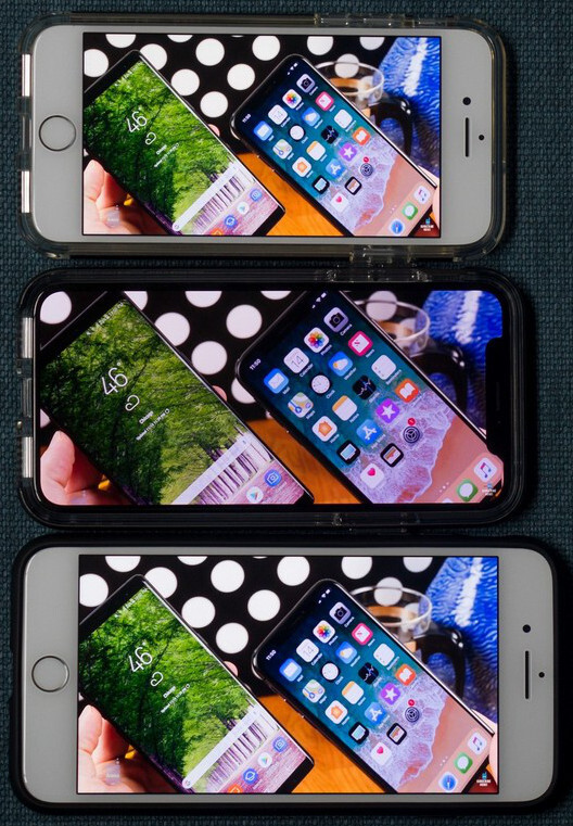 iPhone X display area vs iPhone 8 vs 8 Plus for video
