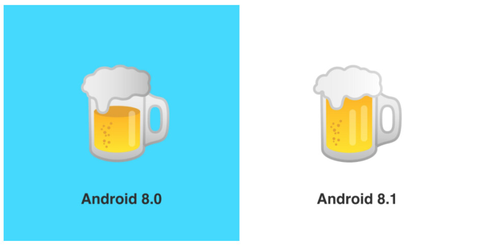 Left is wrong and right is right, obviously, but what about that second reflection in the beer mug? I'm not sure everyone will be pleased with that second reflection! - Google fixes burger and beer emojis in Android 8.1