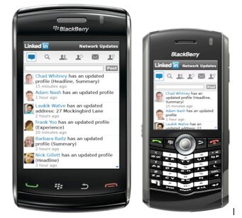 More handsets are being supported on the latest version of LinkedIn for BlackBerry