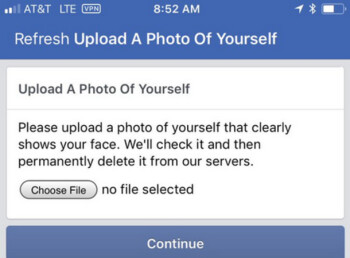 If Facebook suspects suspicious activity in your account, it might ask you for a photo of your face to confirm the account's authenticity
