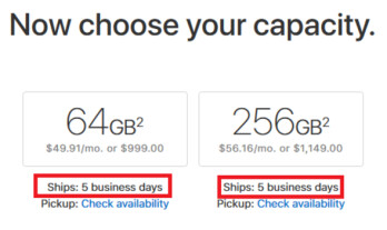 Currentshipping time for new Apple iPhone X orders placed with Apple is five business days