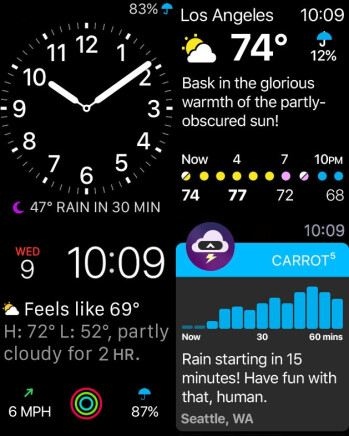 Carrot Weather Watch UI